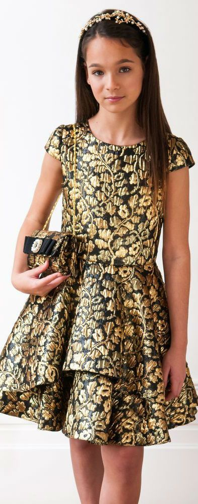 ON SALE !!! This Pretty DAVID CHARLES Girls Black & Gold Jacquard Party Dress. Perfect New Years Party Look. Love the Matching Black & Gold Purse! #kidsfashion #girl #dress #party #sale