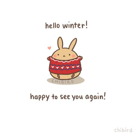 The bunny got out his fluffy sweater and everything! Happy winter everyone~ ^u^