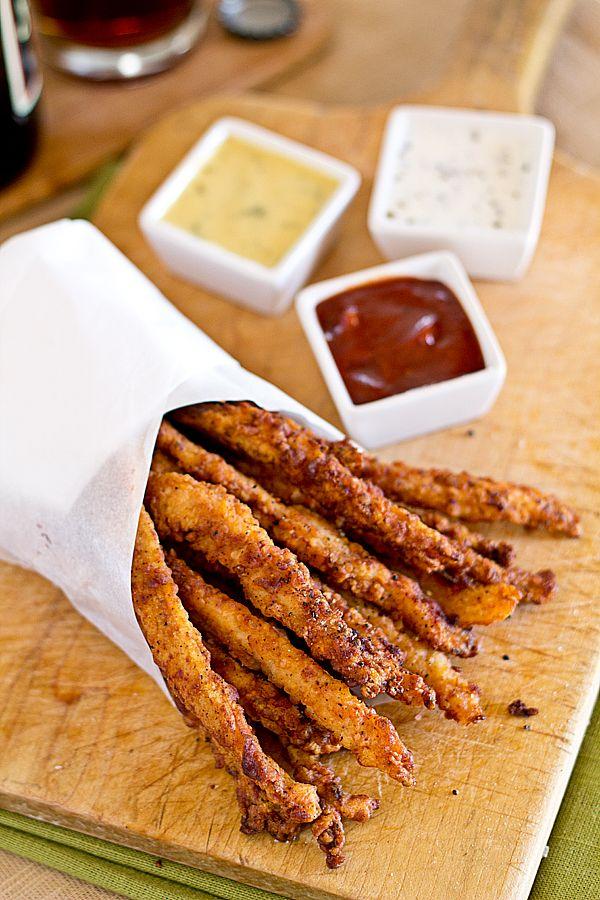Crispy Chicken Stix with 3 Dipping Sauces Recipes ~ Sweet Honey Mustard Sauce, Smoky BBQ Sauce, Buttermilk Ranch