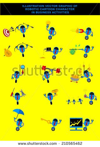 Illustration Vector Graphic Of Robotic Businessman Cartoon Character.