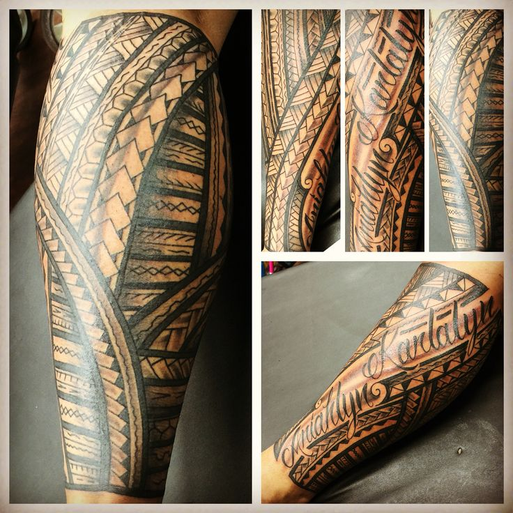 Freehand Polynesian leg tattoo with wife and daughters names