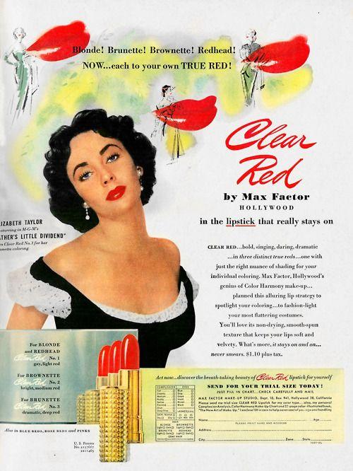 Elizabeth Taylor for Max Factor lipstick, 1951.