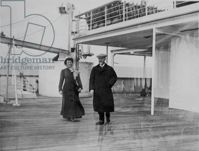 Couple on the deck of the Titanic, 12th April 1912