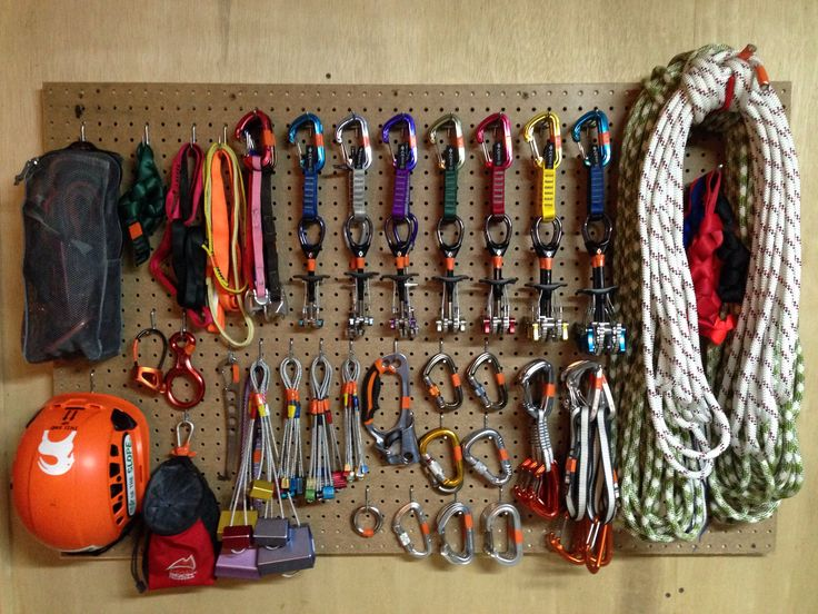 "Rock climbing gear. Pegboard 31""x48"" looks great and keeps everything from being bunched up inside my pack. Best storage idea I ever got from Pinterest."