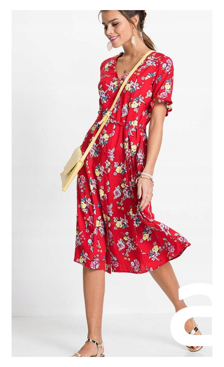Sukienka Casual Ciekawa Stylizacja Moda Damska Sukienka Zwiewna Sukienka W Kwiaty Czerwona Sukienka Dresses Casual Dress Fashion