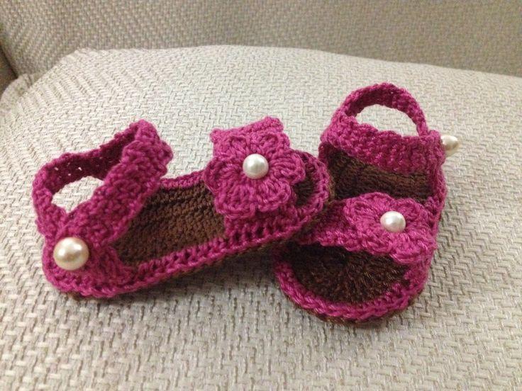 sandalias a crochet para bebe patrones