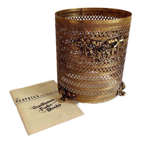 Hollywood Regency Waste Basket Gold Filigree Footed