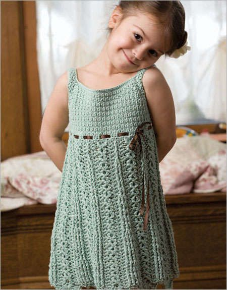 This cute crochet dress pattern form Interweave is made with tight stitches that don't stretch a lot, making the dress a durable choice for a stylish little girl who wants to play in it!