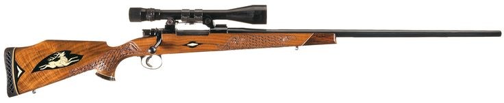 Winslow Arms Crown Grade 300 Weatherby Magnum Bolt Action Rifle with Inlaid and Deep Relief Carved Stock and Scope