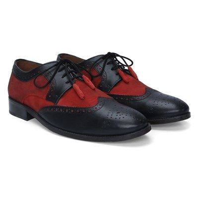 Buy Black / Maroon Leather Brogue Shoes With Suede Component By Brune Online at Best Price @ #voganow