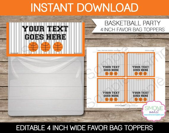 Basketball Party Favor Bag Toppers - 4 inches wide - INSTANT DOWNLOAD with EDITABLE text - you personalize at home using Adobe Reader