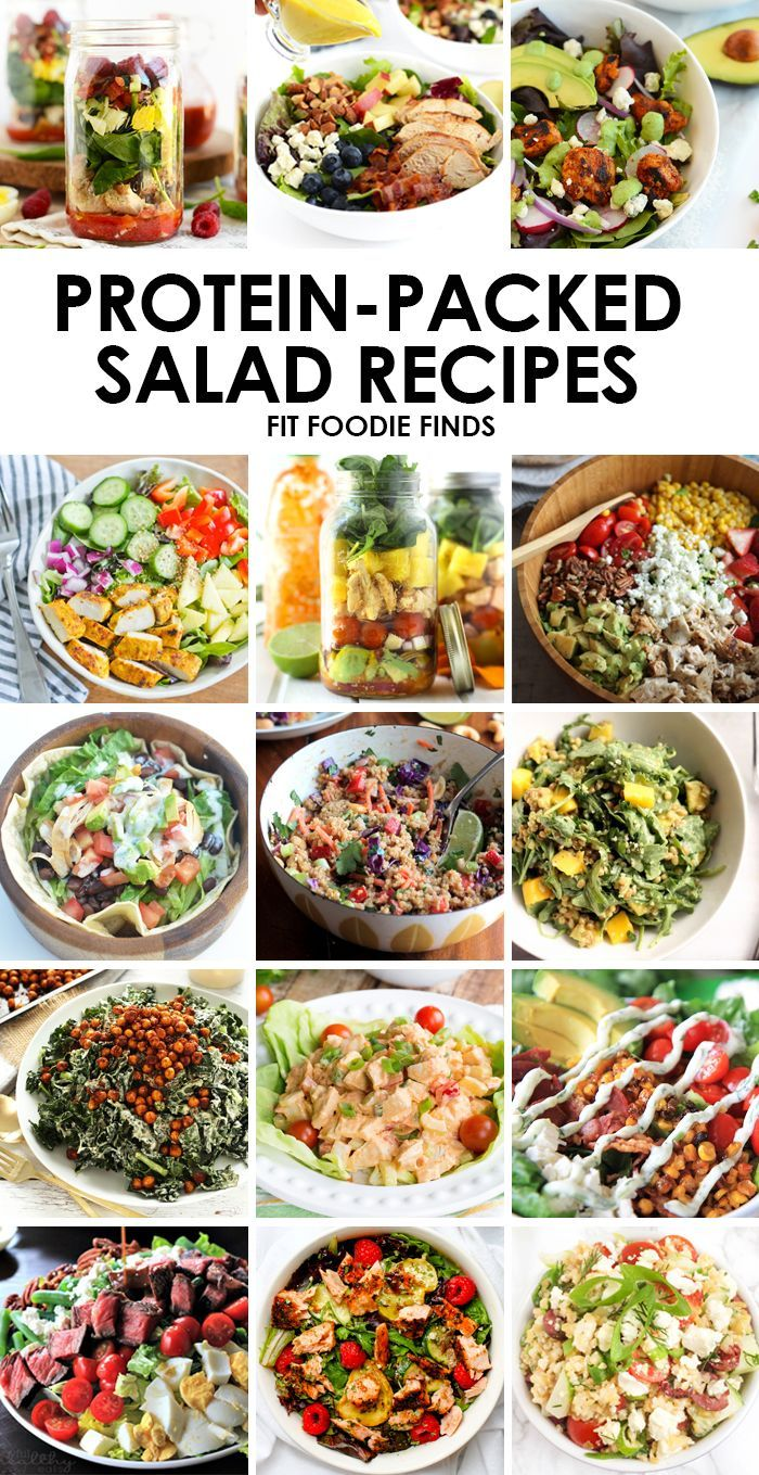 Make one of these protein packed salad recipes for a delicious and healthy meal that will keep you fuller! -FitFoodieFinds.com #healthy @fitfoodiefinds