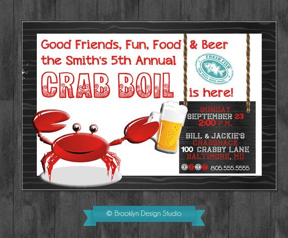 Crab Boil Dinner Party Custom Designed Invitation