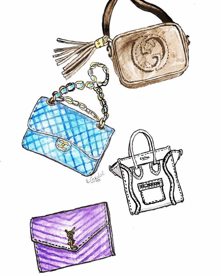 #designerbags #ysl #chanel #gucci #givenchy #fashionillustration #modeillustratie