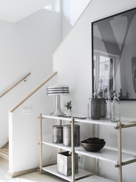 Apartment styled by Lotta Agaton for Folkhem: Decor Ideas, Stairs, Hallways, Interiors Design Style, Shelves, Industrial Style, Grey, House, Fight Agaton