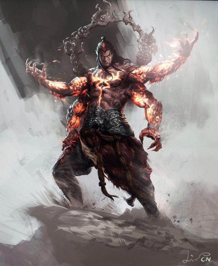 Esta imagen me encanta, ja que se puede observar que tiene superpoderes, porque tiene quatro brazos y parece un samurai mitat cabra mitat hombre, ademas tiene una gran mosculatura. Y esta subido sobre una ola negra.