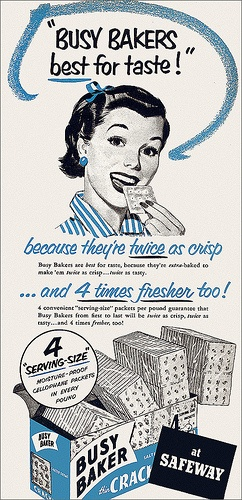 Charming Busy Baker Cracker ad, 1953.  From a time when people made their own crackers!