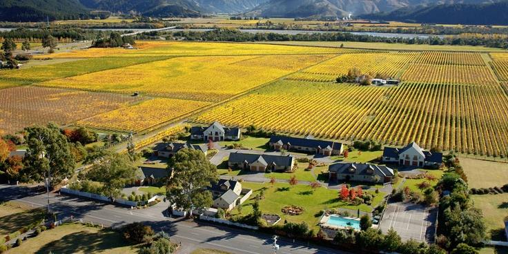 Marlborough - aerial view of Vintners Retreat Blenheim NZ #unique #experiences #newzealand #gourmet #journeys  #luxury #premium #travel