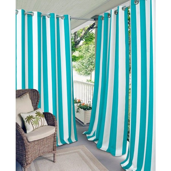 """Elrene Aiden Stripe 52\"""" x 84\"""" Indoor/Outdoor Grommet Panel with 50+... ($100) ❤ liked on Polyvore featuring home, outdoors, outdoor decor, turquoise, outdoor patio decor, sun panels, patio panel, elrene home fashions and outdoor sun decor"""