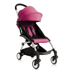 Babyzen - YOYO  Stroller Frame and Seat Pad. White frame with pink seat pad.