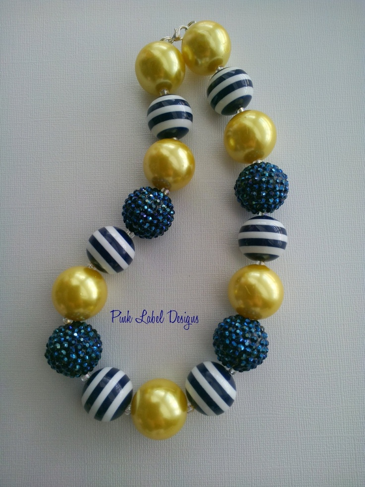 Navy Stripe & Yellow Chunky Bead Necklace by PinkLabelDesign, $20.00