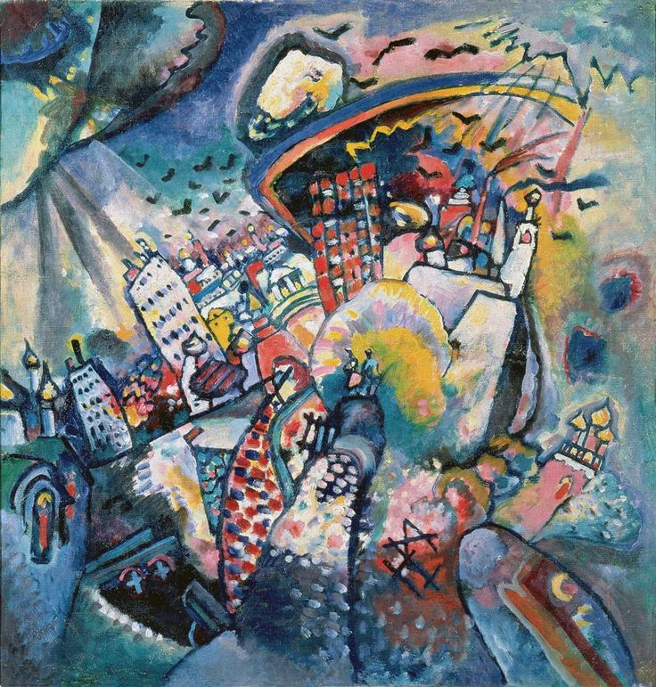 """Wassily Kandinsky. Moscow. Red Square, 1916Oil on canvas 20.3 × 19.5"""" (51.5 × 49.5 cm) Moscow, Russia. The State Tretyakov Gallery"""