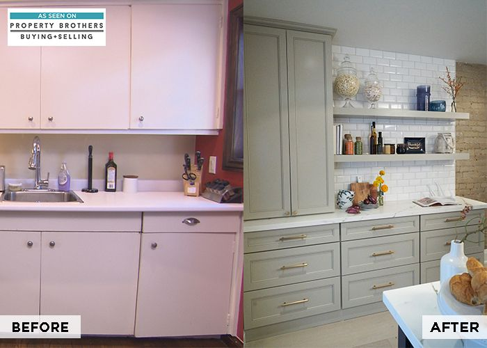 Last night's episode of Property Brothers: Buying + Selling brought an outdated kitchen into today's latest trends. Leeton Diamond cabinets in an Egret finish paired with floating shelves will provide your home with an updated aesthetic. Inspire your look.
