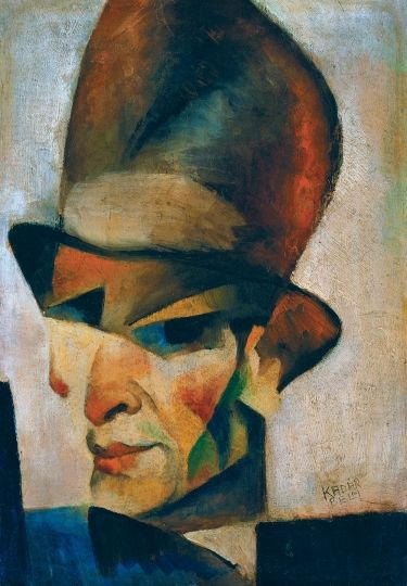 Béla Kádár (Hungarian 1877–1956) [Cubism, Expressionism, Cubo-Expressionism] Self-portrait with hat, ca 1921.