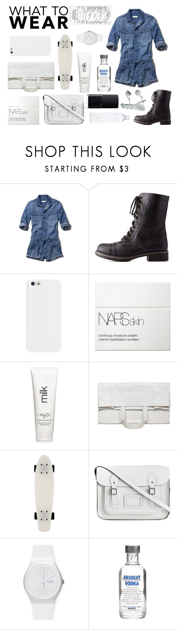 """What to Wear: Black Friday Shopping"" by modernandsmash ❤ liked on Polyvore featuring Abercrombie & Fitch, Charlotte Russe, NARS Cosmetics, H2O+, Maison Margiela, The Cambridge Satchel Company, Swatch and shoptilyoudrop"