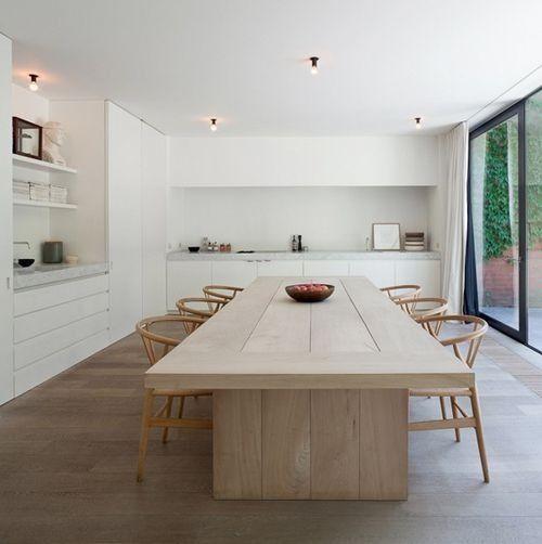 White & Natural wood kitchen.