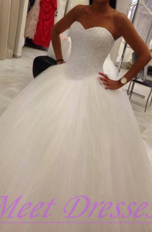 2015 Princess Sweetheart Wedding Dresses Romantic Tulle Wedding Gown With Bling Beadings  - Thumbnail 2