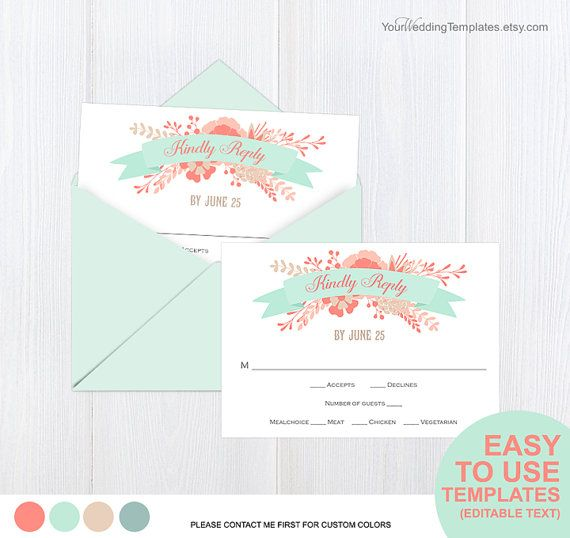 botanical garden wedding Rsvp card by YourWeddingTemplates on Etsy
