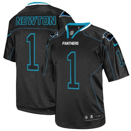 Men's Nike NFL Carolina Panthers #1 Cam Newton Elite Lights Out Black Jersey $129.99