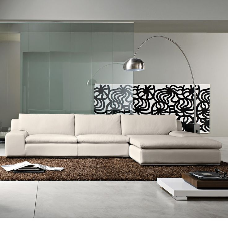 Geneva Modern Leather Italian Corner Sofa