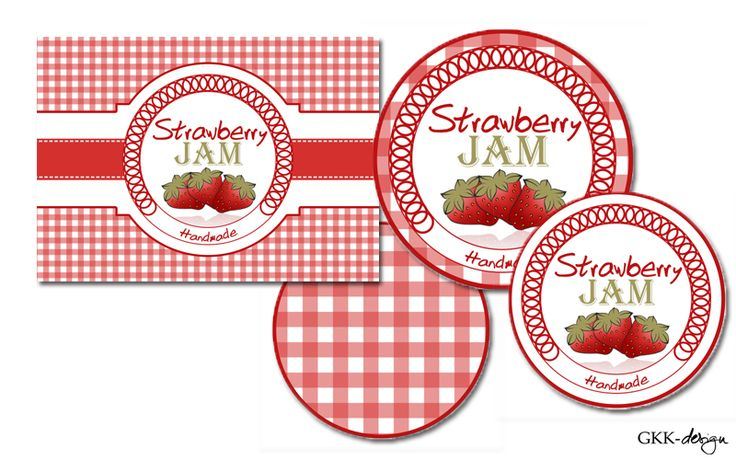 Free printable strawberry jam labels by GKK-design
