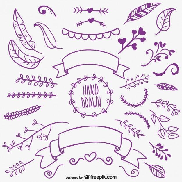 dibujo a mano - violeta - ornamento