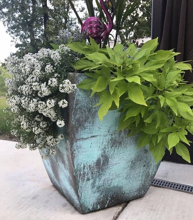 Metal Effects Green Patina Finish on Garden Planter by Ashley Harris Home   Modern Masters