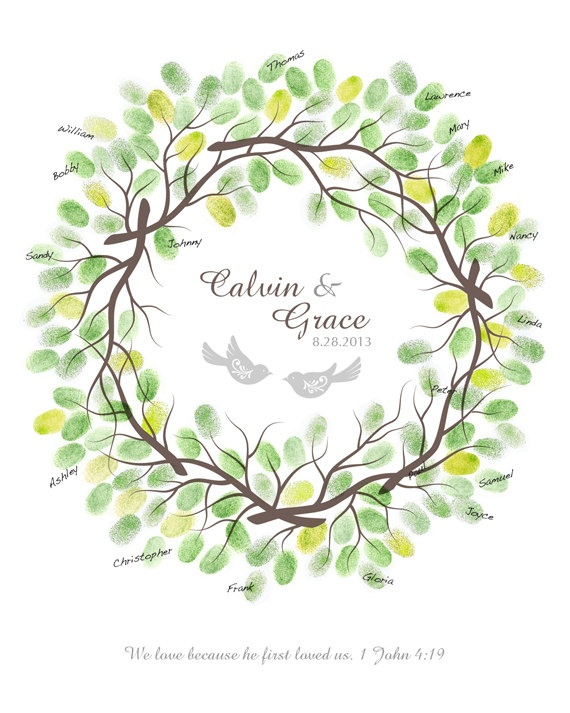 Wedding Thumbprint Wreath Guest Book Alternative with Ink Pads, Family Reunion, Anniversary Gift, Personalized Print with Love Birds, 17x22 $44.00