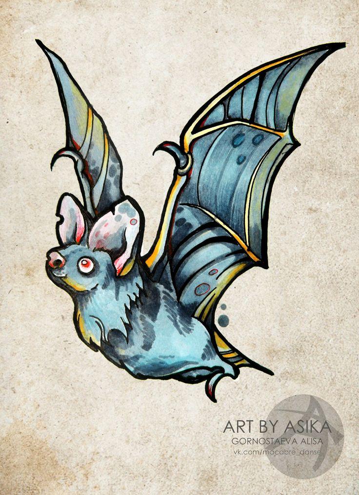 neo traditional bat tattoo photo - 2