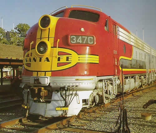 Perhaps the most classic early diesel locomotive of all time, from Santa Fe..EMD F series.