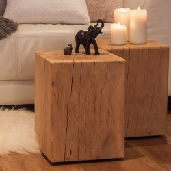 Beautifully rustic modern oak side table suitable for outside or in, brought to you by Portwoodstudio