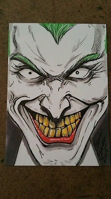 Sketch Card The Joker ooak copic ACEO