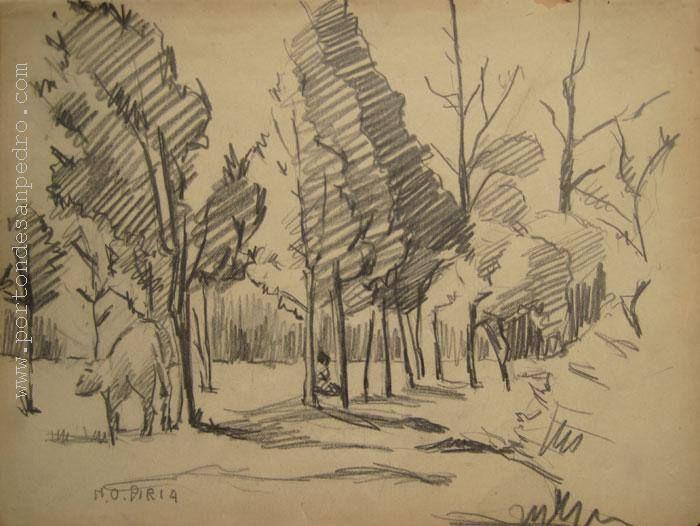 """Maria Olga Piria """"Bosque II"""" Dibujo a lápiz sobre papel Año 1946 16 X 22 cms. http://www.portondesanpedro.com"""