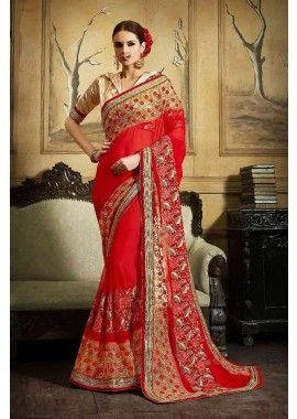 couleur rouge georgette et base mousseline avec addition avec lycra, net et de fantaisie sari tissu, - 132,00 €, #Sariindien #Sariindienmariage #Saripascher #Sarimariagepascher #Shopkund