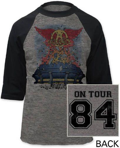 Aerosmith Vintage Concert T-shirt - Aerosmith 84 Tour. Gray Baseball Jersey Shirt