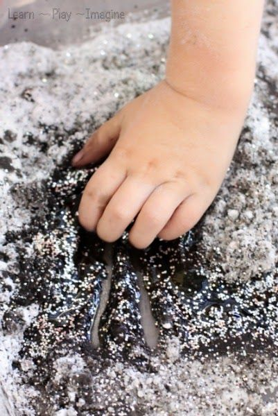 Moon Dough - a new recipe for play that shimmers and sparkles and reminds me of outer space!  You probably have everything you need to make it right now.