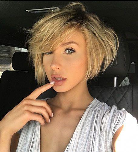 Short Layered Haar mit Seiten Bangs #layeredbobforthinhair