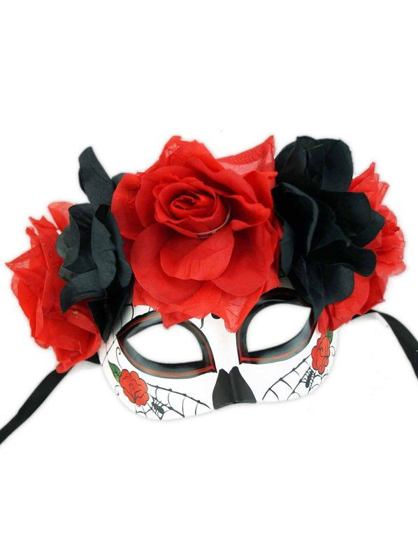 Check out Day of Dead Half Mask with Flowers - Wholesale Horror Masks from Wholesale Halloween Costumes