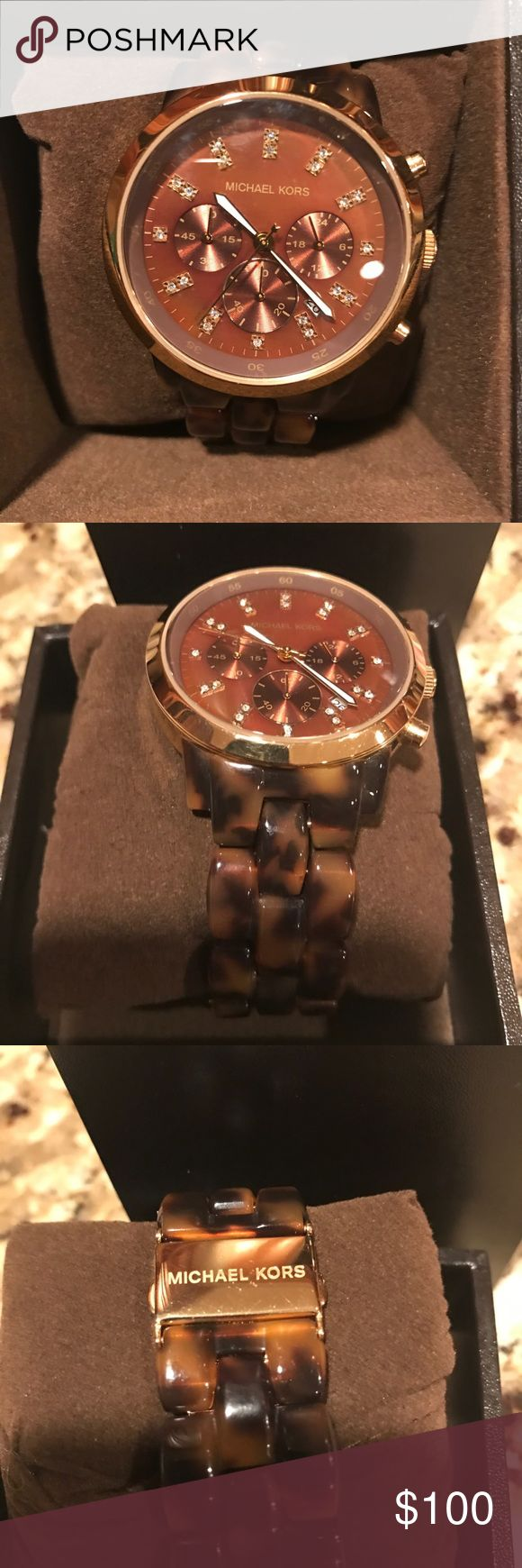Michael Kors tortoise watch Like new. Extra links included. In box Michael Kors Accessories Watches