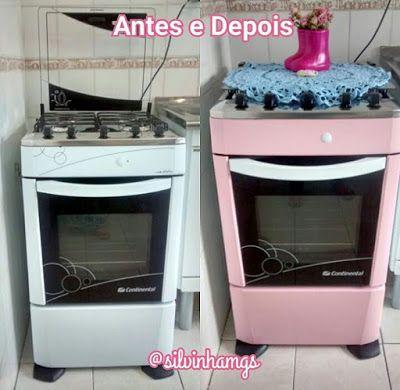 Envelopamento de fogão com Con-tact Rosa